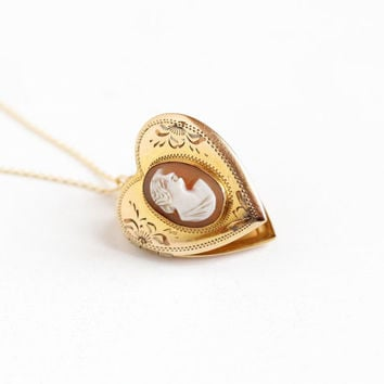 Vintage 12k Rosy Yellow Gold Filled Cameo Heart Locket Necklace - 1940s Carved Shell Etched Flower Pendant Jewelry on 18 Inch 14k GF Chain
