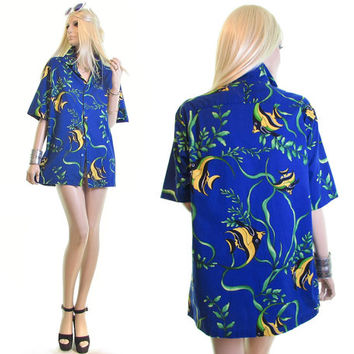 HILO HATTIES angel fish tropical shirt hawaiian shirt hawaii aloha shirt novelty print shirt cotton shirt seapunk mens womens shirt aquarium