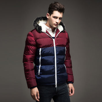 Men Winter Fur Hood Thick Fashion Jacket