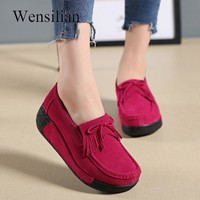 Summer Women Flats Creepers Platform Shoes Ladies Flat Shoes Leather Tassel Slip On Loafers Pink Casual Shoes Red Zapatos Mujer