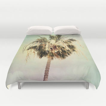 Art Duvet Cover Palm Trees 3 fine art photography home decor bedding bedroom bed pink yellow aqua blue light mint green pastel modern