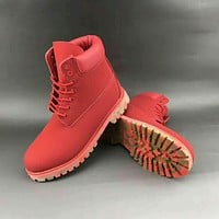 Timberland trendy men and women in high Bang Chao shoes F-HAOXIE-ADXJ Red