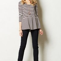 Striped Peplum Tee by Anthropologie Plum Xs Apparel
