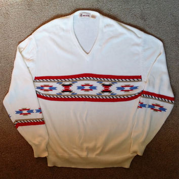 Vintage V Neck Sweater Tribal Aztec Southwest Knit Sweater size XXL