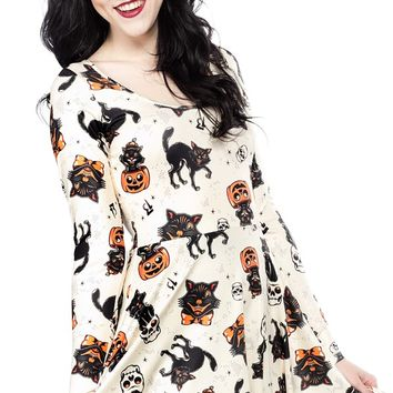 SOURPUSS BLACK CATS SKATER DRESS