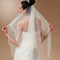 Two Tiers Layer Bridal Wedding Fingertip Length Veil with comb,  Ivory Veil with pearl beaded edge, Blusher hair Veil accessories