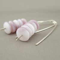 Lilac Purple and White Opaque Czech Glass Stacked Sterling Silver Modern Drop Earrings | The Silver Forge Handcrafted Jewellery
