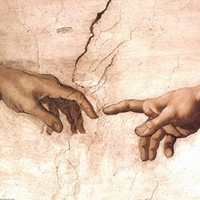 The Creation of Adam (fragment) by Michelangelo Buonarroti. Art Poster Print (20x16)
