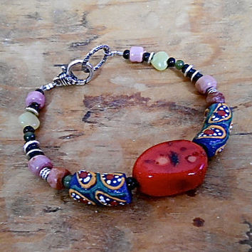 Bracelet  Tribal Hippie Natural Coral  African Trade Beads Pony Beads Tibetan Silver  Red, Blue Mustard Yellow Lime Black Onyx Gift 40.