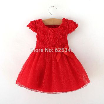 Retail - 2018 Spring bow Baby clothing,ball gown children kids tutu baby girls dress baby dress red