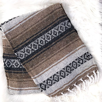 Authentic Mexican Blanket in Brown