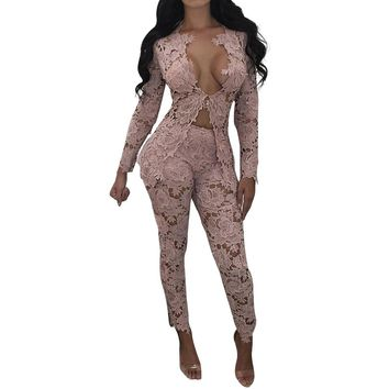 Pink Flower Top and Pants Set