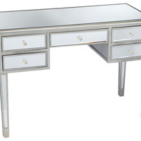 Picabo Mirrored Desk, Silver/Gold, Standard Desks