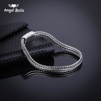 Fashion New Link Chain Ancient Silver Bracelet Women Heavy 5MM Wide Mens Buddha Bangles Bicycle Chain Wristband B1019-6