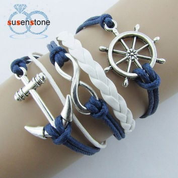 New Silver Infinite Bracelet Nautical Rudder Anchor Blue Leather Rope Bangle
