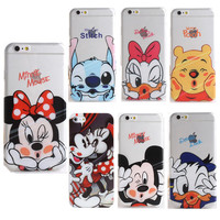 Cartoon Mickey Mouse Minnie Soft Silicon Transparent Case Cover For Apple iphone 6 6S 7 7 Plus 5 5S SE Pattern TPU phone cases