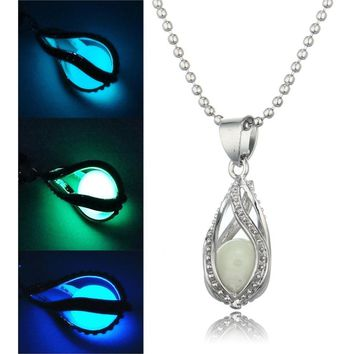Steampunk Glow In the Dark Necklace Silver Color  with Luminous Stone Locket Pendant