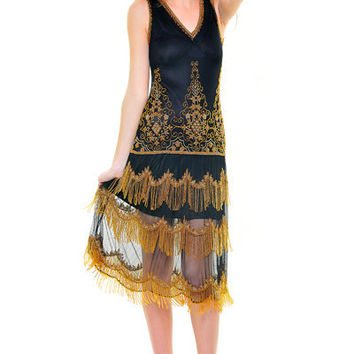 1920's Style Black & Gold Seven Voyages Beaded Reproduction Flapper Dress - Unique Vintage - Cocktail, Evening & Pinup Dresses