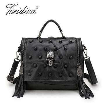 Teridiva Genuine Leather Bag Women Handbag Vintage Patchwork Sheepskin Shoulder Bags Messenger Bag Rivet Tassel Punk Skull Purse