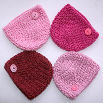 Bright Pink baby hat Ready to ship baby girl hat newborn photo prop 0 - 3 months