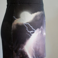 Lightning mini skirt - storm clouds ultra mini printed jersey, soft grunge punk murmuration - small