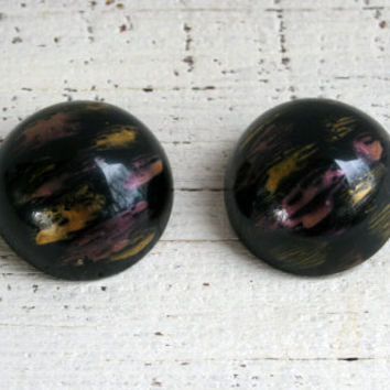 Vintage 80s Jewelry 80s Earrings New Wave Hipster Clip on Earrings Abstract Painted Wood Dome Earrings Big Large 80s 1980s Vintage Clip Ons