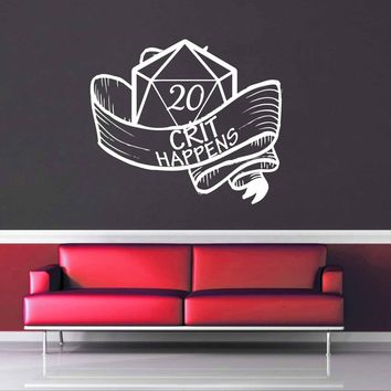Crit Happens - Gamer Décor - Wall Decal$8.95