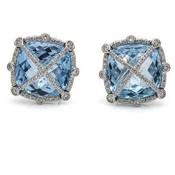 1.00 Carat 18k White Gold Blue Topaz Diamond Stud Earrings 2addf1fcd3
