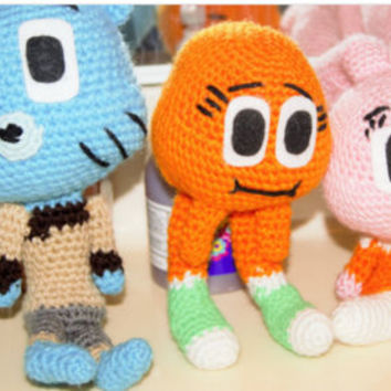 amigurumi gumball, darwin and anais, amazing world of gumball inspired