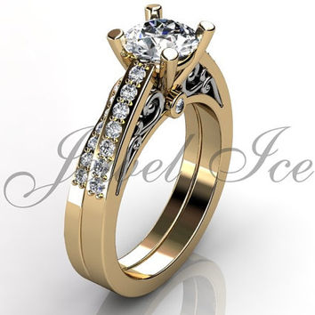 Engagement Ring Set - 14k Yellow an White Gold Diamond Unique Art Deco Filigree Scroll Wedding Band Engagement Ring Set Bridal Set ER-1122-7