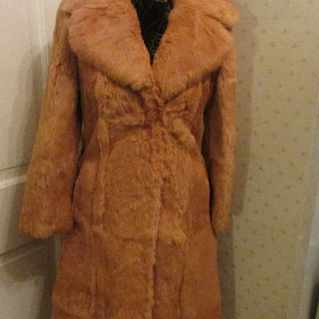 Vintage Winter, Fur Coat, Jacket Collar, Rabbit , Long Length, Very Warm, Light Orange Color  Statement, Flair. Fun