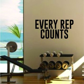 Every Rep Counts Gym Quote Fitness Health Work Out Decal Sticker Wall Vinyl Art Wall Room Decor Weights Lift Dumbbell Motivation Inspirational