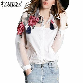 Zanzea Fashion Blusas 2018 Summer Elegant Women Blouse Flower Embroidery Vintage Shirts Organza Sleeve Tops Plus Size S-3XL