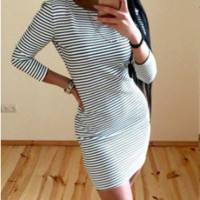 Striped Back Zipper Bodycon Dress