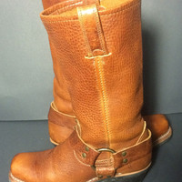 FRYE 77300 Golden Brown Leather Harness Motorcycle Boots 12r Women's Size 5.5