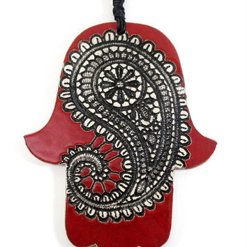 Ceramic hamsa, hamsa wall decor, hamsa wall art, hamsa wall hanging, hamsa hand, evil eye, judaica, hanukkah gift, red hamsa wall decor, red