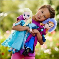 HOT 2pcs 40CM Disney Frozen Elsa&Anna princess stuffed Soft plush Christmas