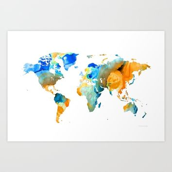World Map Art - Map Of The World 14 - By Sharon Cummings Art Print by Sharon Cummings