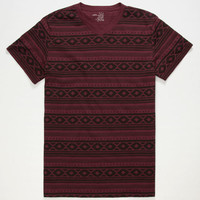 Blue Crown Apache Stripe Mens Notch V-Neck Tee Burgundy  In Sizes