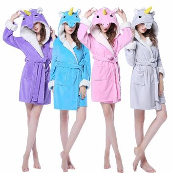 Newcosplay Women Bathrobe Knee-Length Unicorn Pijamas Flannel Dressing Gowns For Women Halloween Cosplay Costume Female Robes