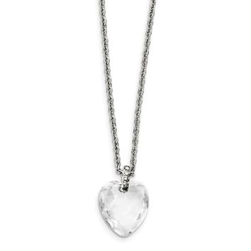 Stainless Steel Crystal Heart & CZs Necklace 18in