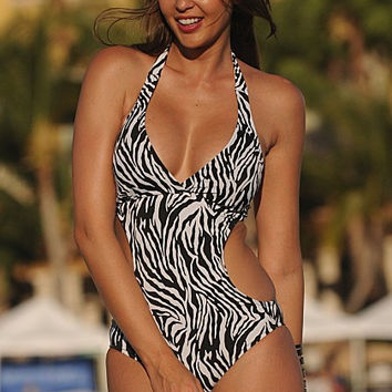 UjENA Zebra Cut-Out Z103 Crossover halter neck  Ties at neck and back  Removable padding One Pieces Swimwear Women's Swimsuit