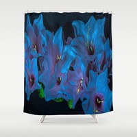 Electric Blue Flowers Shower Curtain by Scott Hervieux
