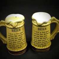 Novelty Beer Stein Salt and Pepper Shakers