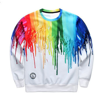 Rainbow Dripping Paint Crew Neck Sweatshirt Men & Women Harajuku Style All Over Print Purple Orange Red Green Yelow Blue White Sweater