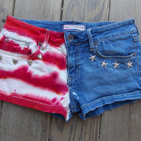 Red White and Blue Love - American Flag Dyed and Studded Short Shorts