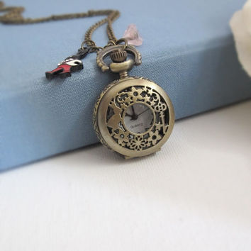 Mad Tea Party. Alice in Wonderland. Mr White Rabbit with Pocket Watch. Pink Czech Glass Bell Flower Antiqued Bronze Necklace