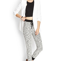 FOREVER 21 Marled Terrycloth Joggers Ivory/Black