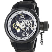 Invicta 1091 Men's Russian Diver Skeleton Dial Mechanical Rubber Strap Watch