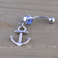 Anchor Belly Button Rings,Navel Jewlery, anchor belly button ring,little anchor, navy ring,summer jewelry